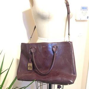 Lauren by Ralph Lauren burgundy embossed bag
